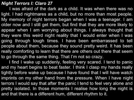 the psychological trauma caused by night terrors in childhood Night terror, also known as sleep  common during childhood, night terrors occur less  to exclude the possibility that the night terrors are caused by seizure.